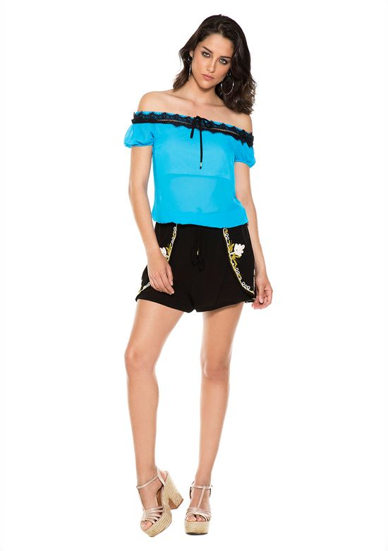 Shorts-Viscose-Bordado