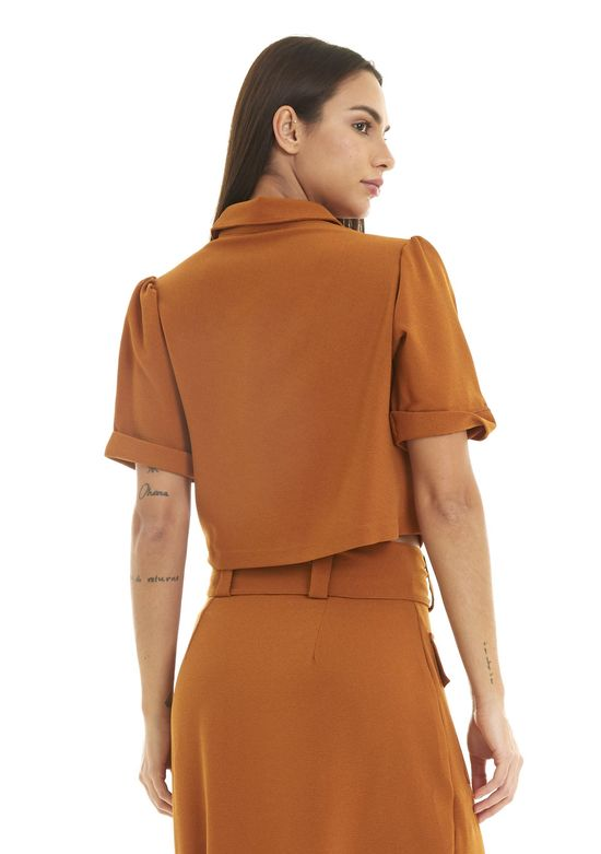 Camisa-Cropped-Mangas-3-4---Ocre-P